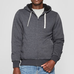 Men's Sherpa Lined Zip Hoody, Charcoal Heather